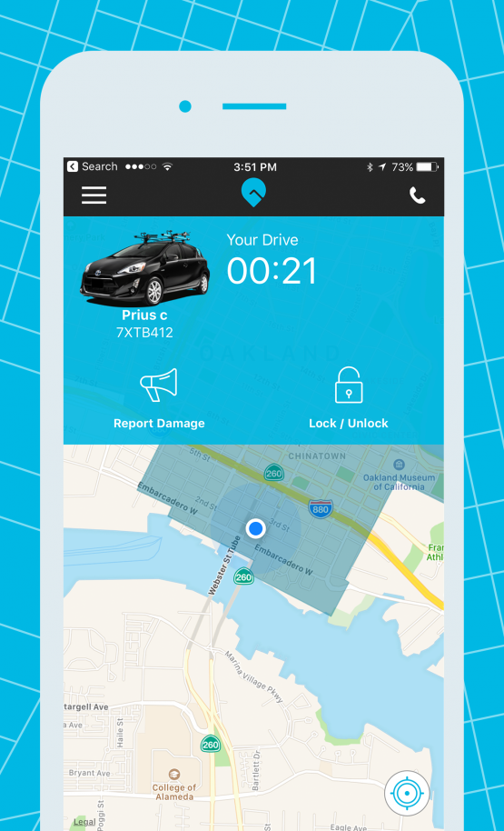 gig car share app lock and unlock screen map