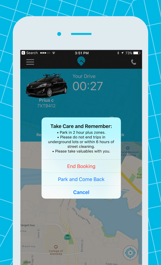 gig car share app park and come back end booking